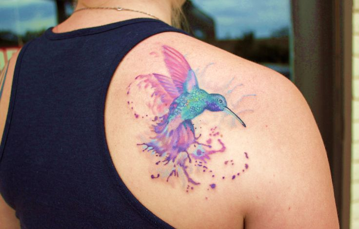 Pretty Watercolor Bird Tattoo On Back Of Shoulder