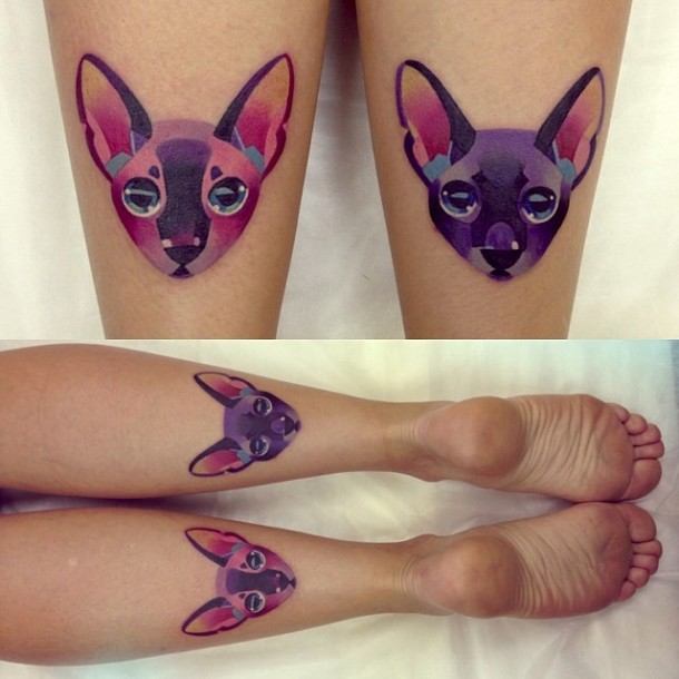 Pretty Watercolor Cat Tattoos On Back Of Legs