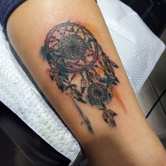 Pretty Watercolor Dreamcatcher Tattoo
