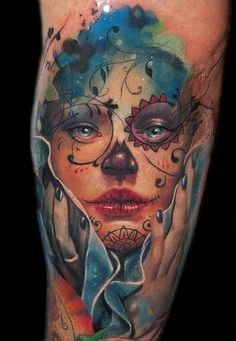 Pretty Watercolor Female Tattoo