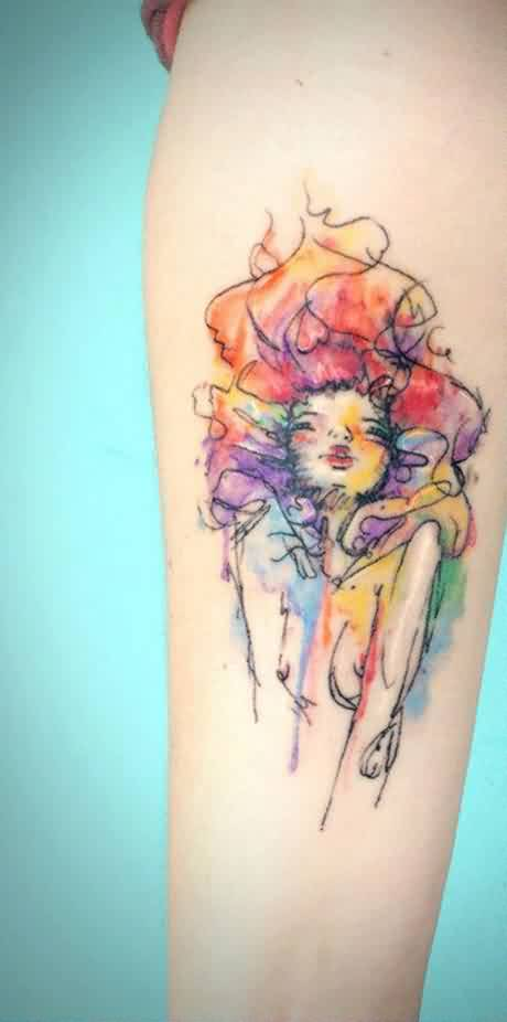 Pretty Watercolor Girl Tattoo On Forearm