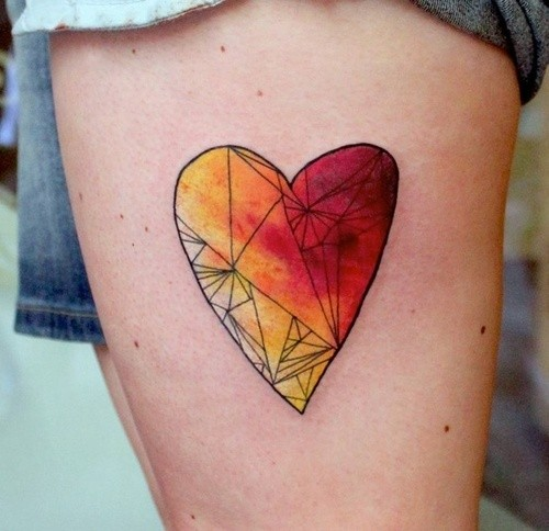 Pretty Watercolor Heart Tattoo For Girls