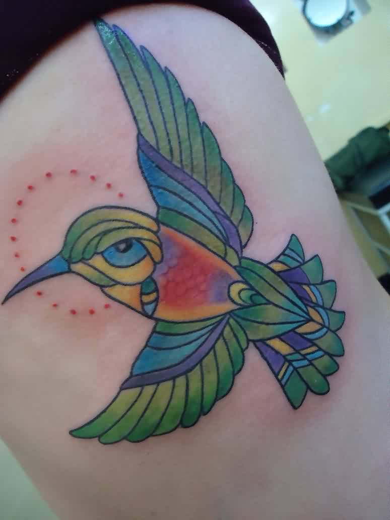 Pretty Watercolor Hummingbird Tattoo