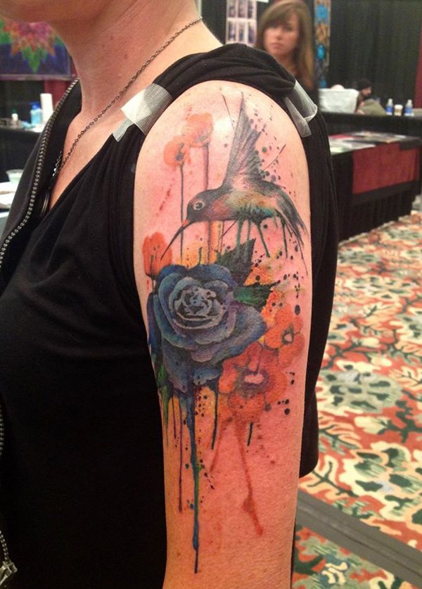 Pretty Watercolor Tattoos On Biceps (2)
