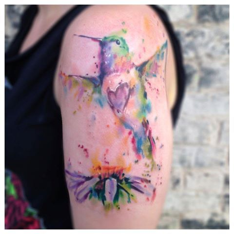 Pretty Watercolor Tattoos On Biceps
