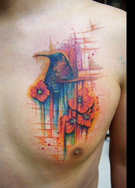 Pretty Watercolor Tattoos On Chest