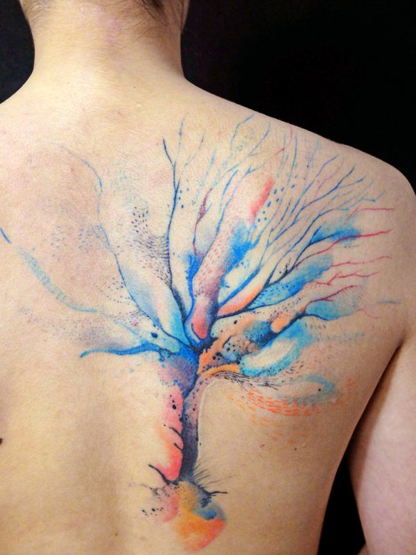 Pretty Watercolor Tree Tattoo On Back Shoulder