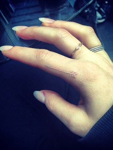 Pretty White Ink Arrow Tattoo On Finger