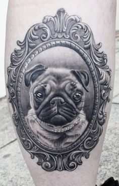 Puppy Portrait In Frame Tattoo