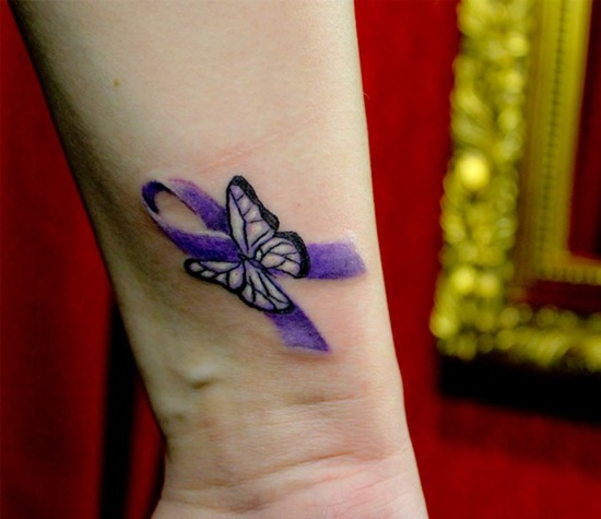 Purple Cancer Ribbon And Butterfly Tattoos On Wrist