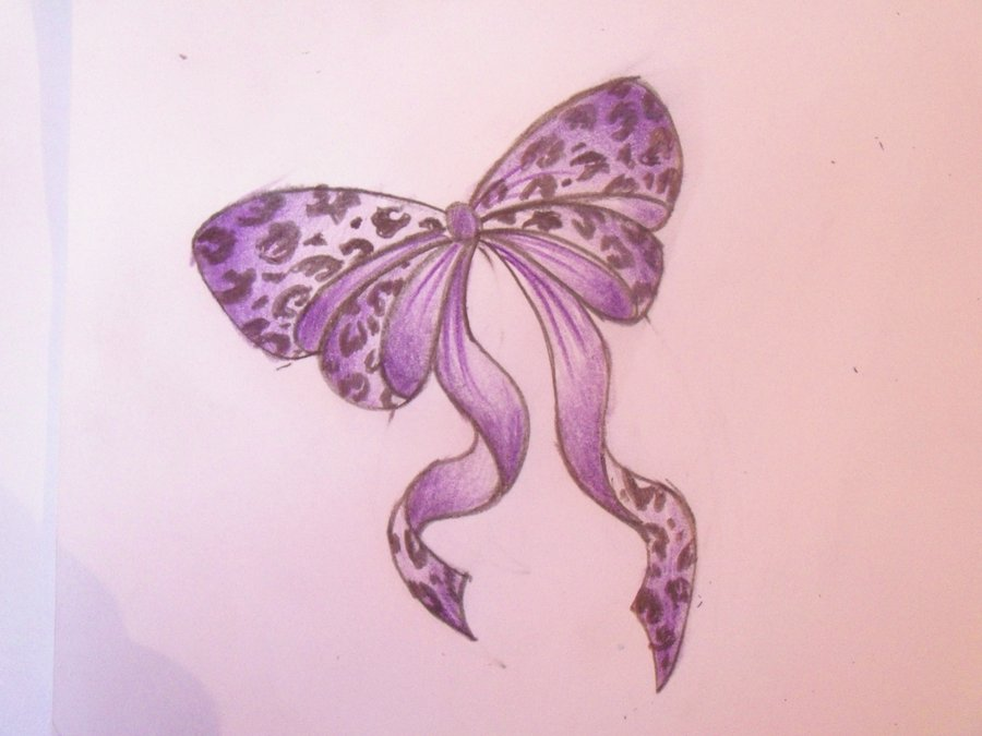Purple Ribbon Leopard Print Bow Tattoo Design
