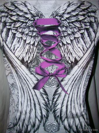 Purple Ribbon With Angel Wings Tattoo Design