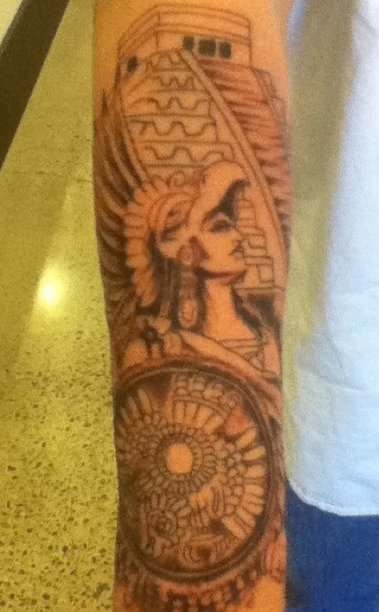 Pyramid And Aztec Tattoos On Arm