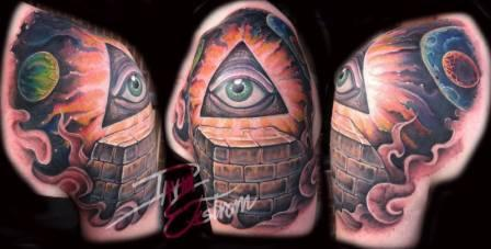 Pyramid Eye Space Planets Sun Smoke Color Tattoos