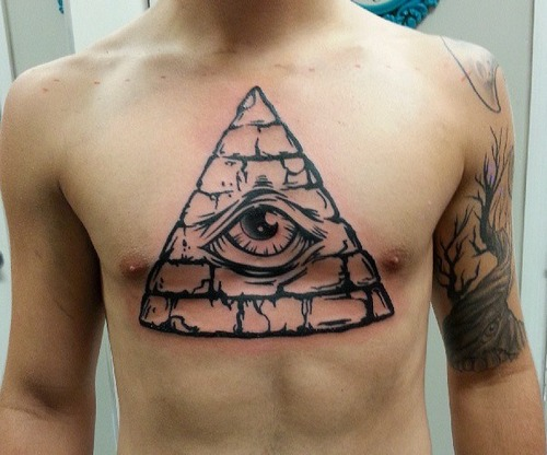 Pyramid Eye Tattoo On Chest For Guys
