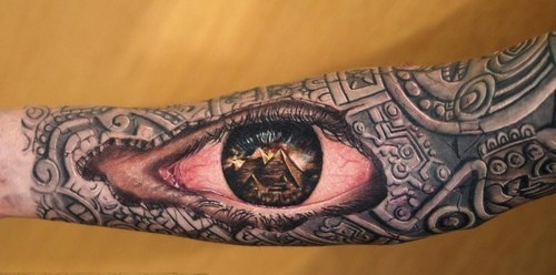 Pyramids In Eye Tattoo On Sleeve