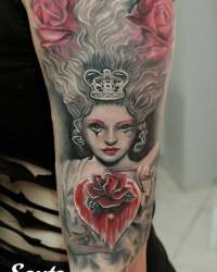 Queen And Heart Tattoos On Sleeve