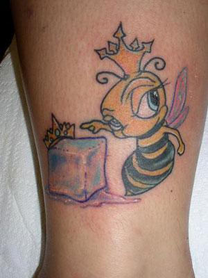 Queen Bumblebee And Melting Ice Tattoos