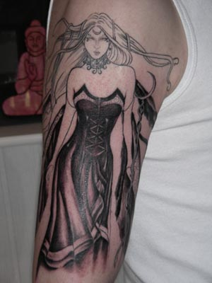 Queen Fairy Tattoo On Right Sleeve
