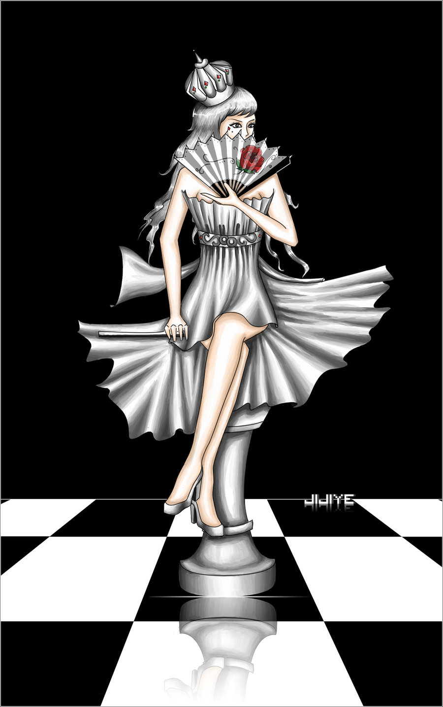 Queen In A Chess Game Tattoo Design