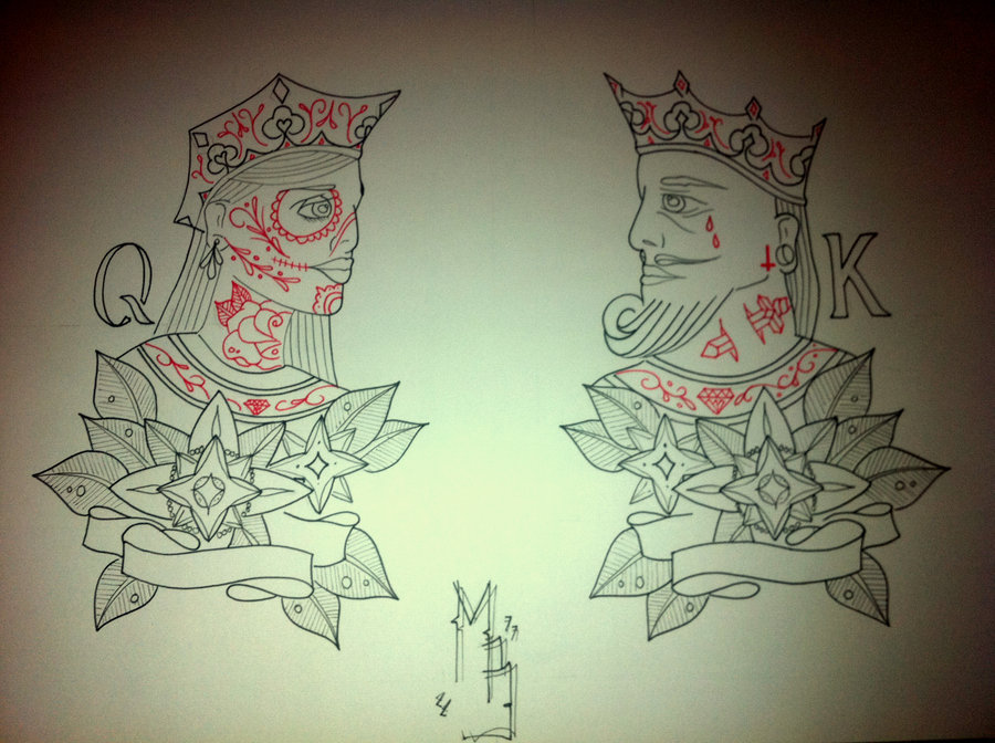 Queen King Traditional Tattoo Designs