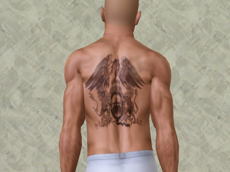 Queen Logo Tattoo Design For Men Back