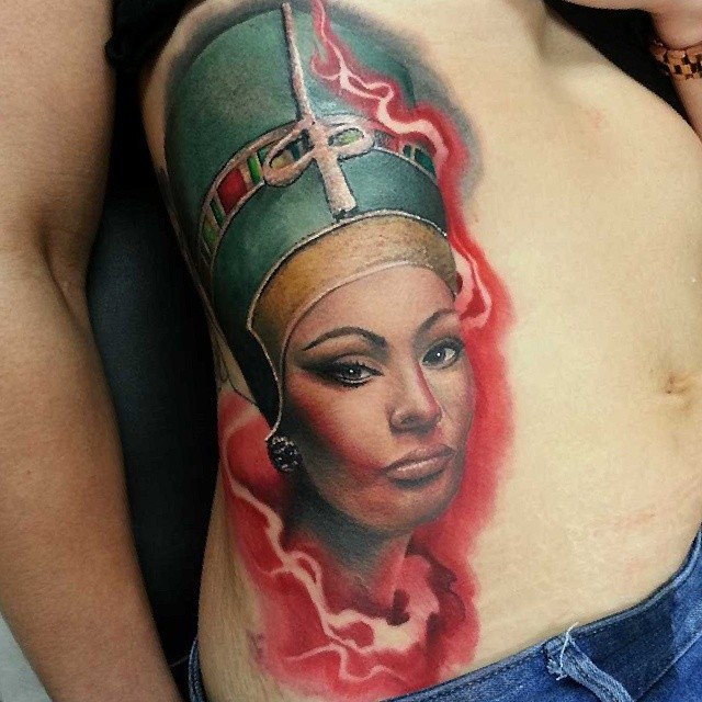 Queen Nefertiti And Flames Tattoo For Girls And Women