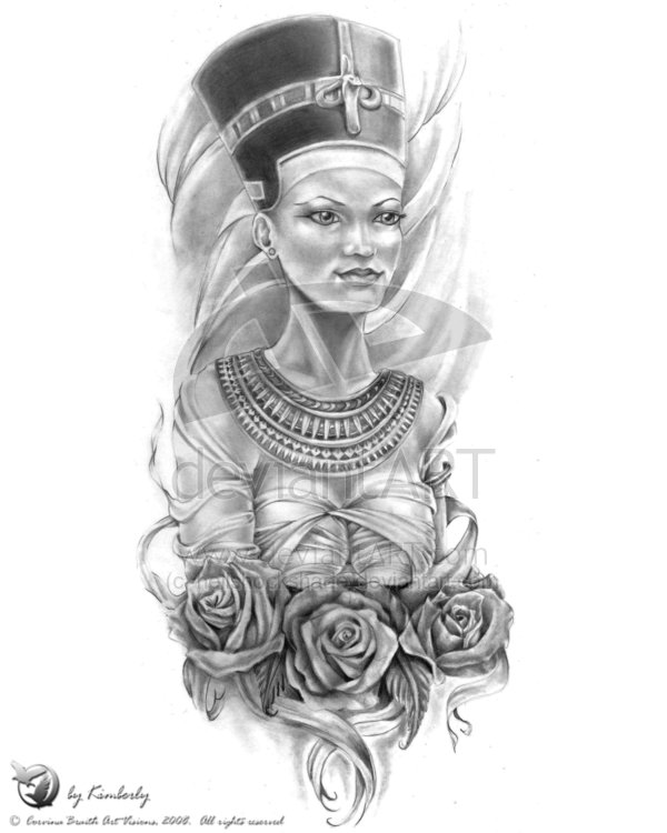 Queen Nefertiti And Rose Tattoo Designs