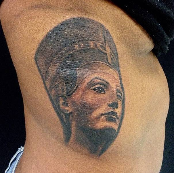 Queen Nefertiti Portrait Tattoo For Women