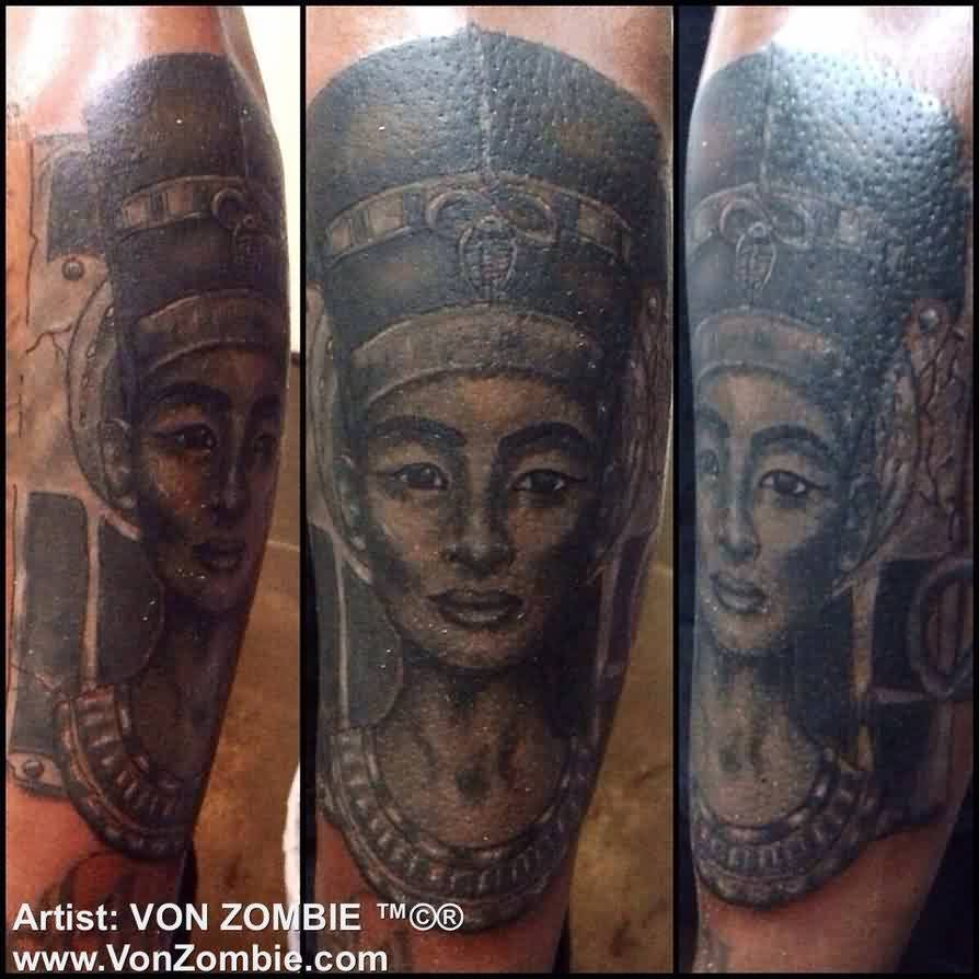 Queen Nefertiti Portrait Tattoo