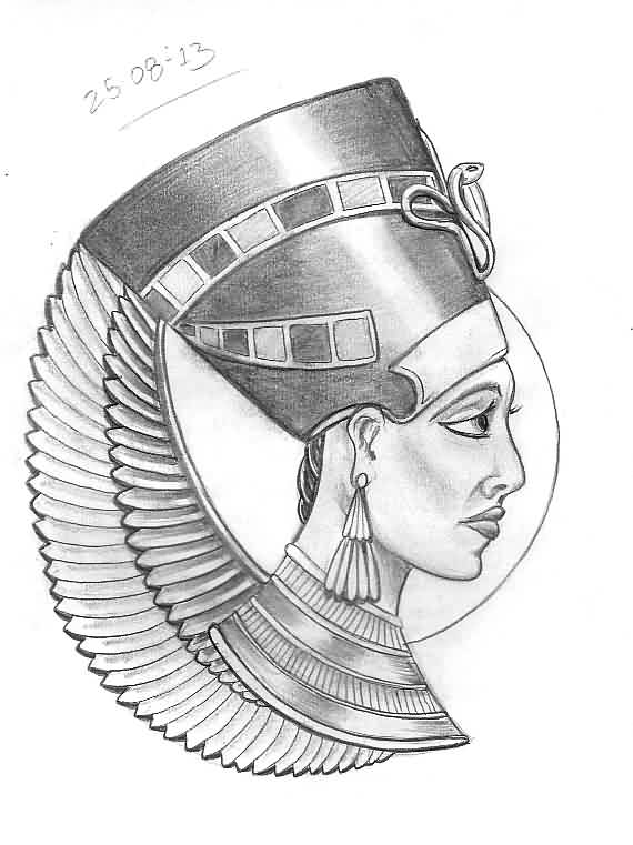Queen Nefertiti Tattoo Sketch