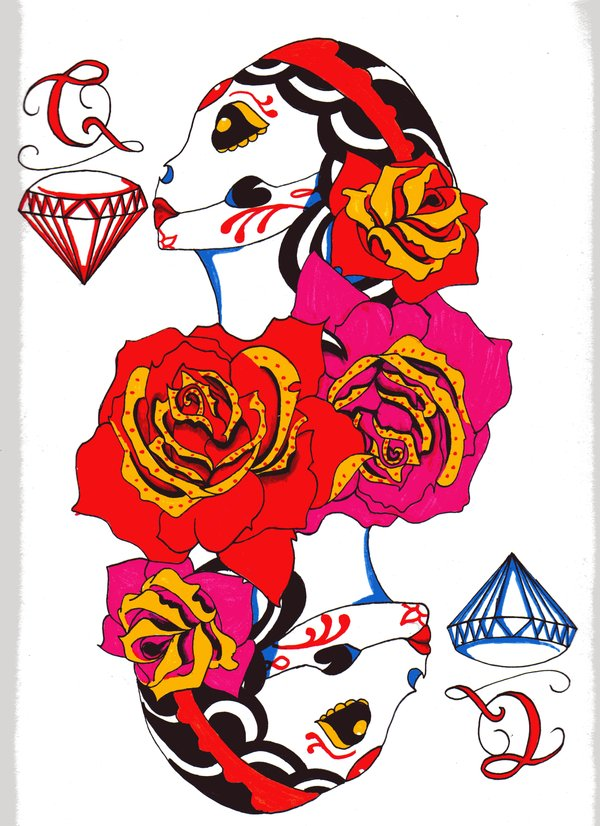 Queen of Diamonds Final Tattoo Design
