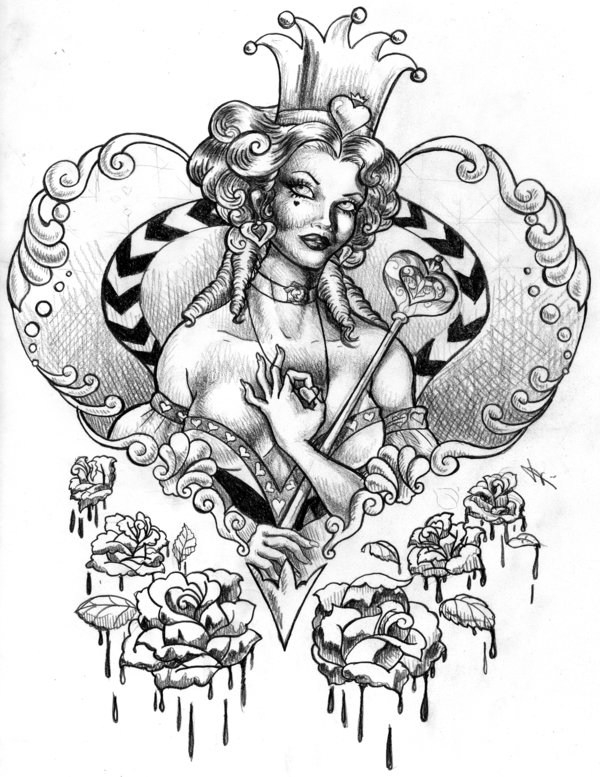Queen Of Hearts And Melting Rose Tattoo Designs
