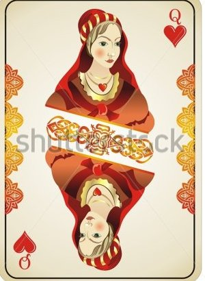 Queen Of Hearts From Deck Of Playing Cards Tattoo Flash