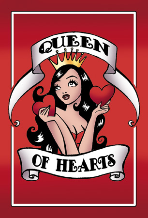 Queen Of Hearts New Tattoo Print