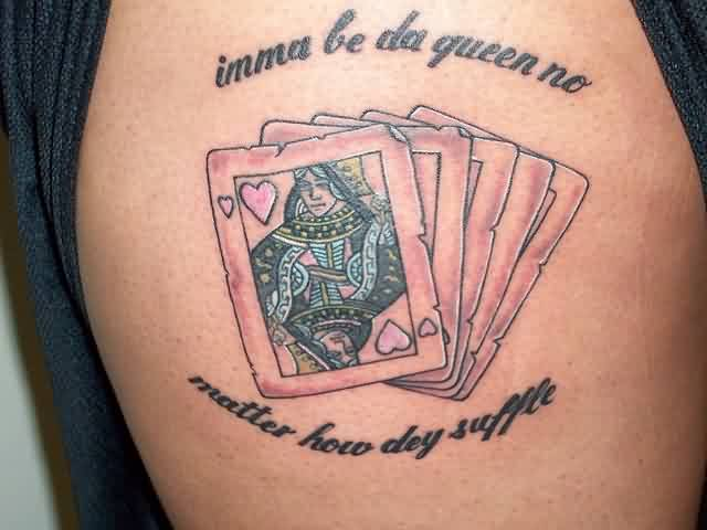 Queen Of Hearts Playing Card Tattoo (2)