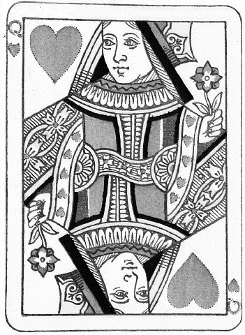 Queen Of Hearts Playing Card Tattoo Design (2)