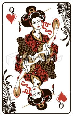 Queen Of Hearts Playing Card Tattoo Design