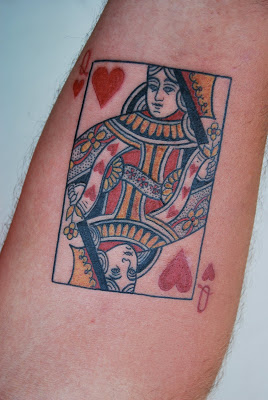 Queen Of Hearts Playing Card Tattoo
