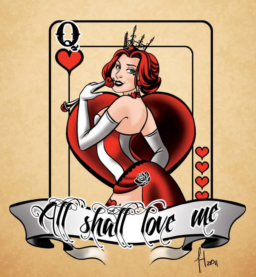 Queen Of Hearts Tattoo Flash
