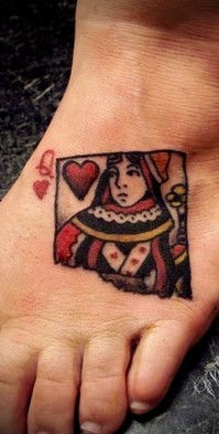 Queen Of Hearts Tattoo On Foot