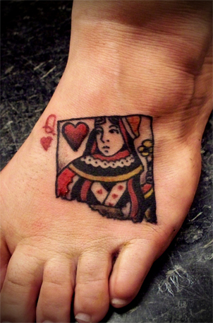 Queen Of Hearts Tattoo On The Foot