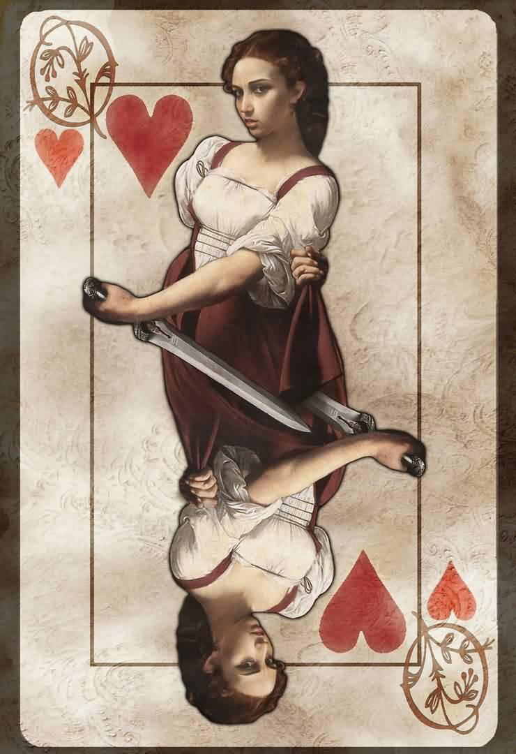 Queen Of Hearts Tattoo Print