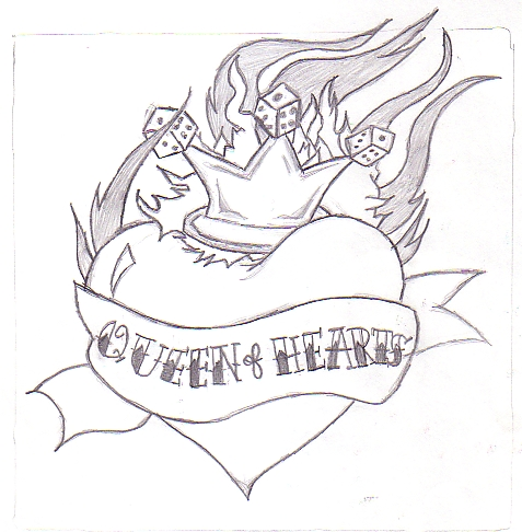 Queen Of Hearts Tattoo Sketch