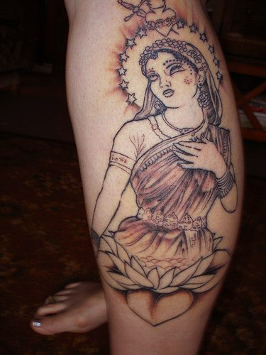 Queen On Lotus Tattoo On Leg