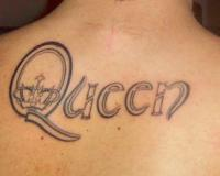 Queen Tattoo On Upperback