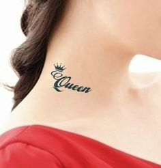 Queen Temporary Tattoo On Neck