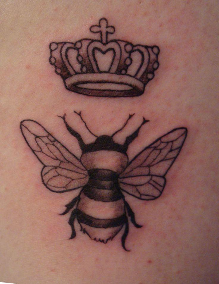 Queen's Crown And A Bee Tattoo