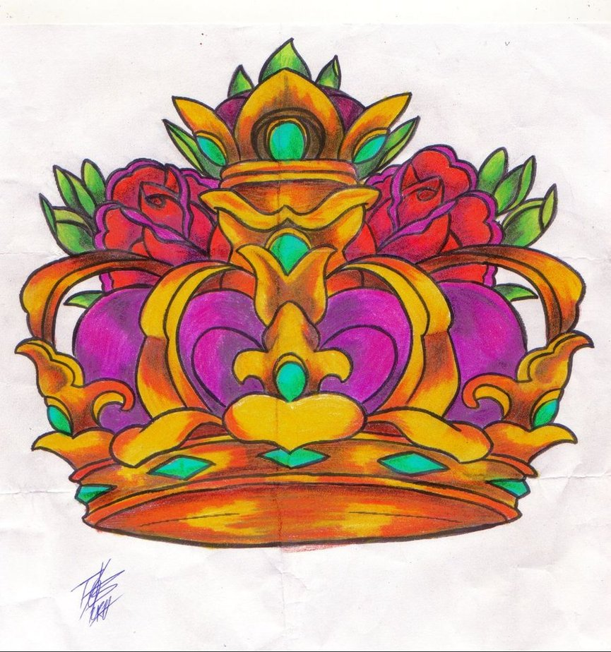Queen's Crown And Roses Tattoos Sketch