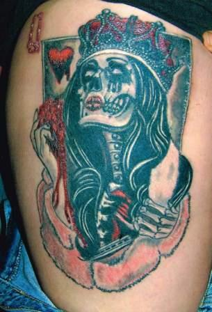 Queens Of Hearts Skull Tattoo